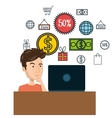 cartoon man e-commerce laptop desk isolated design vector image