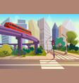 cartoon modern city panorama with glass vector image vector image