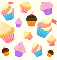 cartoon style seamless pattern with sweet vector image