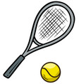 cartoon tennis racket and yellow ball vector image vector image