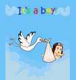 cartoon with stork bringing cute baby boy vector image
