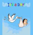 cartoon with stork bringing cute baby boy vector image vector image