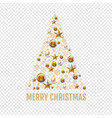 christmas tree with golden christmas toys and vector image vector image