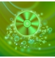 Compact Disc Isolated on Green Waves vector image vector image