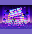 cool typeface retro wave vector image