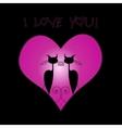 couple cat in love in big heart vector image vector image