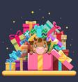 cute cartoon baby cow ox cub gift box isometric vector image
