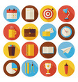 Flat Business and Office Circle Icons Set with vector image vector image