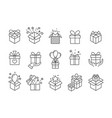 gift boxes icons birthday present box with ribbon vector image vector image