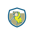 Golfer Swinging Club Shield Cartoon vector image vector image