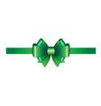 green ribbon bow 01 vector image