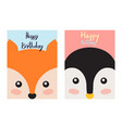 happy birthday cards set vector image vector image