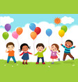 happy kids jumping together and holding balloons vector image vector image
