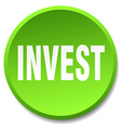 invest green round flat isolated push button vector image vector image