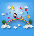 kid playing with kite vector image