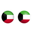 kuwaiti flag under 3d dome button and on glossy vector image vector image