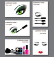 make up business card set vector image