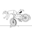man falling of bicycle coloring book vector image vector image