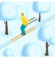 Man On Ski Isometric vector image vector image