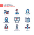 mass media - coloured modern single line icons set vector image vector image