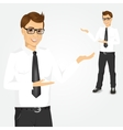 modern young businessman showing something vector image vector image