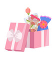 opened pink gift box with candies and flowers vector image vector image