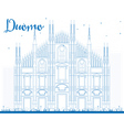 Outline Duomo in Blue Color Milan Italy vector image vector image