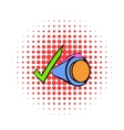 Pen and green checkmark icon comics style vector image vector image