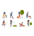 people gardening characters doing farming job vector image