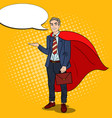 pop art smiling super businessman in red cape vector image vector image