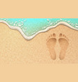 realistic human footprint on sea beach sand vector image vector image
