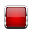 red glass button shiny square 3d web icon vector image vector image