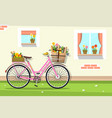 retro pink bicycle with house wall and windows vector image