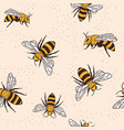 seamless pattern with bees and leaves vector image