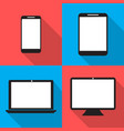 set monitors laptop tablet and phone flat style vector image vector image
