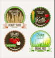 set of fresh organic labels and elements vector image vector image