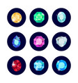 shine diamond icons set vector image