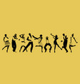 silhouettes of nine people dancing charleston vector image