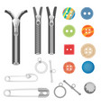 steel metal zipper and sewing tools accessories vector image