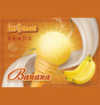 sweet banana ice cream design ad vector image vector image