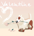 valentine dog with a rose vector image vector image