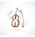 violin with a bow grunge icon vector image