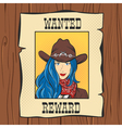 Wanted Vintage Western Poster with young pretty vector image