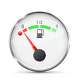 white fuel gauge with chrome frame empty tank vector image