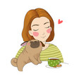 young girl and a cute pug beautiful woman and vector image