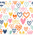 hand drawn seamless pattern with hearts doodle vector image