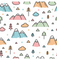 hand drawn seamless pattern with trees and vector image