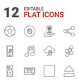 12 multimedia icons vector image vector image