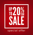 20 percent off sale discount on red background vector image