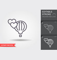 air balloon and hearts line icon with shadow vector image